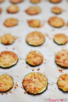 Baked Parmesan Zucchini Rounds ~ you're just 2 ingredients away from a quick and easy, delicious summer side dish! | FiveHeartHome.com Zucchini Rounds, Zucchini Side Dishes, Vegetable Side Dishes, Zucchini Chips, Zucchini Parmesan, Side Dish Recipes, Low Carb Recipes, Diet Recipes, Vegetarian Recipes