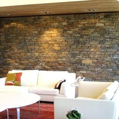 stone feature wall. note wood soffit.  nice warmth & texture. Stone Feature Wall, Outdoor Furniture, Outdoor Decor, Living Room Decor, House Ideas, Note, Texture, Architecture, House Styles