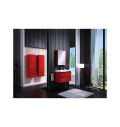 Ensemble de salle de bain COMO 60cm rouge - Meuble Salle de bain une vasque - Décoration salle de bain