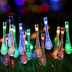 Easternstar Solar String Lights Ourdoor,15.6ft 20 LED Solar Fairy Lights Water Drop Rope Lights Waterproof Christmas Lights for Garden,Patio,Lawn,Fence,Bedroom,Party,Wedding(Multi Color)