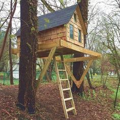 A child-scale treehouse built between two mature trees or next to a single tree with post support. The floor measures 4x7 and the ridge of the roof is 42 high inside. Access is by a hinged trapdoor built into the floor and there are three windows at each end to keep watch over the