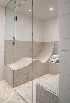 For years, almost everyone I know chooses a regular stand-up shower instead of laying in the tub. Now a way has been found to lay down in the shower. Best of both worlds? Nope, we can't have the bubbles or a nice long soak this way, but it sure looks comfy anyway. :)