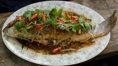 Steamed fish with salted soy beans and glass noodles recipe