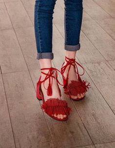 Red Block Low Heel Fringe Sandals Heels Heeled Shoes … – by w_shoes Hot High Heels, Low Heels, Shoes Heels, Red Block Heel Sandals, Gladiator Sandals, Fringe Sandals, Fashion Boutique, Lace Up, Block Fringe