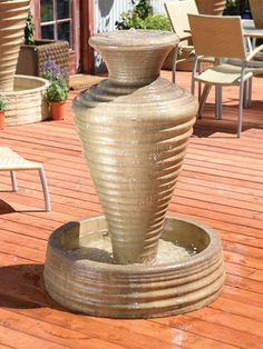 Outdoor Glass Fiber Reinforced Concrete Water Fountain: Gist Décor: Olivia Jar Fountain, Small