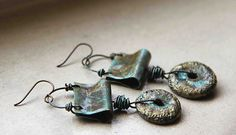 Manipulating metal -crusty and rustic and lustrous stoneware and by HappyFishShop,