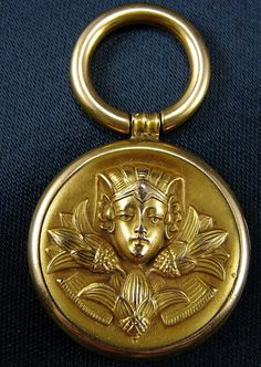 Antique Egyptian Revival 10k & 14k Yellow Gold Puffy Fob Charm Pendant Figural Repousse Woman & Lotus Flowers
