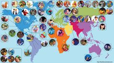 The world map of Disney/Pixar locations