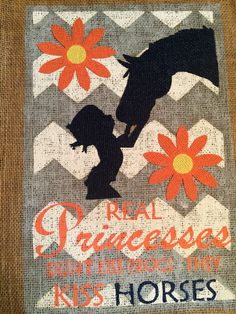 """Chevron Little Cowgirl w/ Flowers Burlap Girl's Nursery Art Wallhanging: """"Princesses Don't Kiss Frogs- They Kiss Horses"""" Girls Room Decor"""