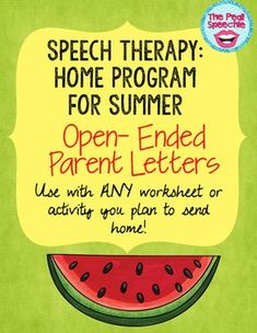 Summer Speech Therapy