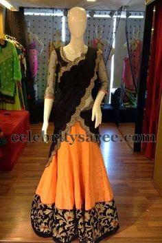 Half Saree with Net Blouse | Saree Blouse Patterns