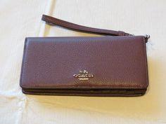 Coach Wristlet Slim Wallet 53759 SVERJ Eggplant multi leather CC logo womens NWT #Coach #Wristlet