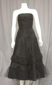 Beaded Black Taffeta 1950's Cocktail Dress w/ Gathered Tulle