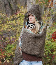 The Original EarthenPurl Hoodie  Striped Design. handknit and crocheted  woodland hoodie shrug. 4a68c79148c