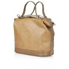 Topshop Tan Brown Cross Body Faux Leather Tote Handbag None Metal Bar, Tote Handbags, Purses And Bags, Topshop, Brown, Leather, Things To Sell, Cross Body