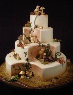 Amazing butterfly and mushroom cake Gorgeous Cakes, Pretty Cakes, Amazing Cakes, Gorgeous Dress, Unique Cakes, Creative Cakes, Cupcakes, Cupcake Cakes, Mushroom Cake