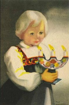 Illustration by Milly Heegaard (Norwegian, Norwegian Christmas, Scandinavian Christmas, Vintage Cards, Vintage Postcards, Christmas Art, Vintage Christmas, Christmas Ideas, Xmas Greetings, Christmas Illustration