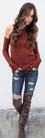 #winter #outfits red knitted cold-shoulder sweater