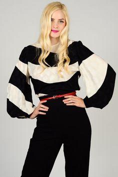 vintage SILK David Hayes POET sleeve Blouse graphic black white striped 100% silk top shirt 80s. $135.00, via Etsy.