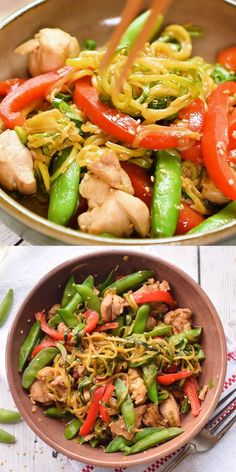 Zucchini Noodle Stir Fry with Chicken and Peppers is a nutritious, low carb, gluten free dinner that's ready in less than 30 minutes. Take spiralized zucchini noodles, onions, and peppers and toss the Zoodle Recipes, Spiralizer Recipes, Stir Fry Recipes, Soup Recipes, Diet Recipes, Cooking Recipes, Broccoli Recipes, Vegan Recipes, Chicken Recipes