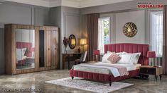 Dormitor matrimonial elegant cu pat Rosu bordo Sofia Chesterfield, Decorating Blogs, Furniture, Room, Home Decor, Dekoration, Bedroom, Decoration Home, Room Decor