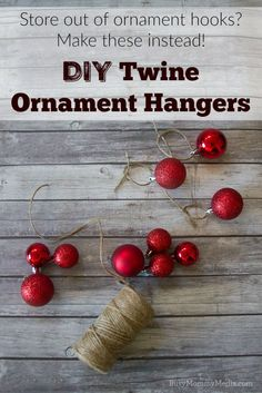 DIY Twine Ornament Hangers | This is such a great Christmas hack if you run out of ornament hangers!