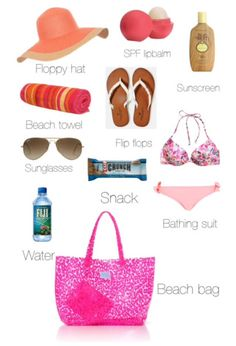 Beach essentials. Not big on the floppy hat. Ball cap instead!