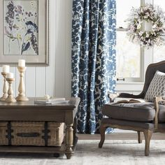 Olmeda Blue Printed Floral Room Darkening Rod Pocket Single Curtain Panel Size per Panel: x Blue Floral Curtains, Floral Room, Printed Curtains, Drapes Curtains, Patterned Curtains, French Country Curtains, Living Room Decor Curtains, Rod Pocket Curtains, My New Room