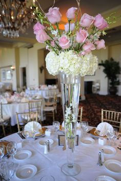 Ivory wedding center pieces | Jewish Wedding in Delray Beach, FL Pink Ivory Wedding Centerpieces ...