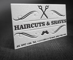 A showcase of letterpress barber shop business cards idea in retro style. The design is available for free download as vector file.