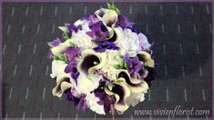 This bouquet has a nice mixture of different tones of purple. We get picasso calla lilies, dendrobiums, lisianthuses and carnations. Purple Wedding Bouquets, Wedding Flower Arrangements, Bridal Bouquets, Wedding Flowers, Sparkling Stars, Rose Gift, Calla Lilies, Carnations, Picasso