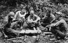 Some of NASA's sixteen astronauts participate in tropic survival training from June 3, through June 6, 1963, at Albrook Air Force Base, Canal Zone. From left to right are unidentified trainer, Neil Armstrong, John H. Glenn, Jr., L. Gordon Cooper and Pete Conrad. ALBROOK AFB, PANAMA.  My dad went through the Jungle Survival School before his tour of duty in Vietnam.