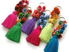 pompón borla encanto boho bolso accesorio encanto neón colores