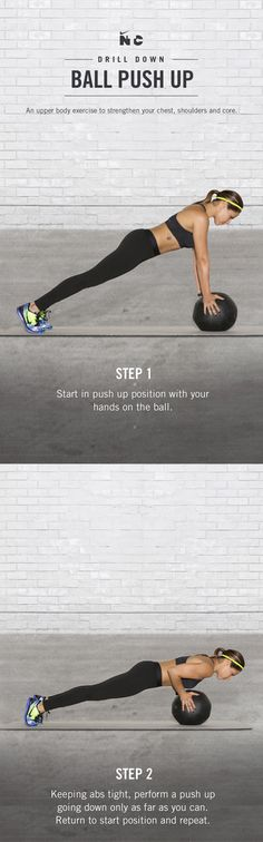 Strengthen your chest, shoulders and core with the Ball Push Up in the Nike+ Training Club Tabata Toned workout. Download now to conquer the N+TC app on your iOS or Android device.