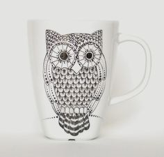 owl mug handpainted in black by madrab on Etsy, €26.00