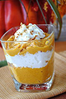 1 can of pumpkin 1 box of low fat vanilla pudding 1-2 cups of whipped topping 1 teaspoon of nutmeg.