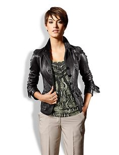 Buy Mandarin - Leather jacket cognac in the Heine Online Shop