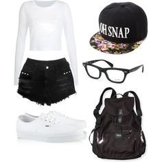 A fashion look from December 2014 featuring Vans sneakers, Victoria's Secret PINK backpacks and Ray-Ban eyeglasses. Browse and shop related looks.