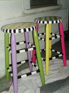 mckenzie childs furniture images | Mackenzie Childs inspired stools | Fun-Painted furniture