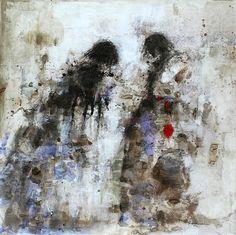 Menines - Tableau contemporain - 200x200 - HANNA SIDOROWICZ Technique mixte. Papier marouflé sur toile. VENDU
