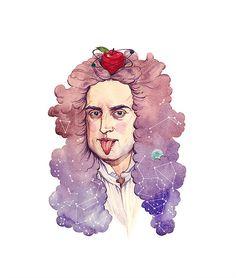 """ genius is patience "" Newton for kids////Asya-Lisina-Isaac-Newton-Illustration Isaac Newton, School Notebooks, Academic Art, Colorful Artwork, Science Art, Watercolor Illustration, Watercolour, Pop Art, Art Drawings"