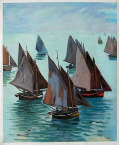 Fishing Boats Calm Sea  Claude Monet hand-painted by PaintingMania