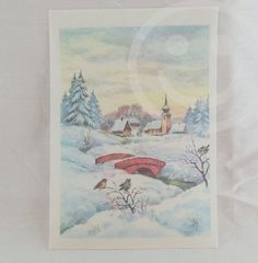 Snow in sight birds water trees  church in by CaritasColorSpace, $5.00