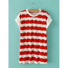 Floral Print Striped Round Collar Cuffed Sleeve Trendy Style Women's T-Shirt