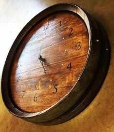 Wine Barrel Clock by BeyondaBarrel on Etsy https://www.etsy.com/listing/286165749/wine-barrel-clock