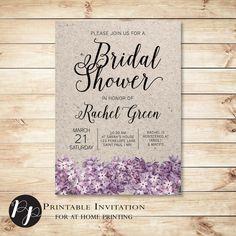 Kraft Paper, Lilacs, Printable Bridal Shower Invitation // Purple, Lavendar, Vintage, bride-to-be // Peachpod Paperie