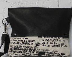 Borsa di frizione pochette da polso in pelle nera 075 / di artlab