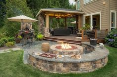 The Wheeler Property Fire Pit Designs is a must see landscape design with Attached gazebo outdoor living room and kitchen, firepit with seatwalls Backyard Seating, Backyard Patio, Backyard Landscaping, Landscaping Design, Outdoor Seating, Nice Backyard, Backyard With Fire Pit, Hot Tub Patio, Stone Backyard