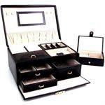 Bey-Berk Black Leather Jewelry Case w/Travel Box