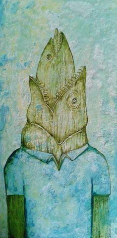 """pez tras pez"" Adnan Galva  Técnicas mixtas  Arte en Pintura  facebook Arte Galva"